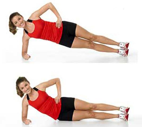 Планка упражнение с опусканием таза