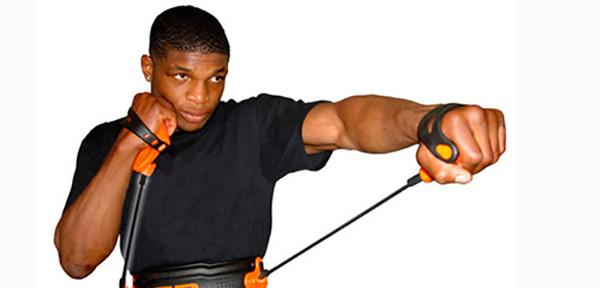 Упражнение на бицепс с эспандером - Поза лучника