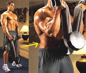Упражнение подъем гантели полотенцем