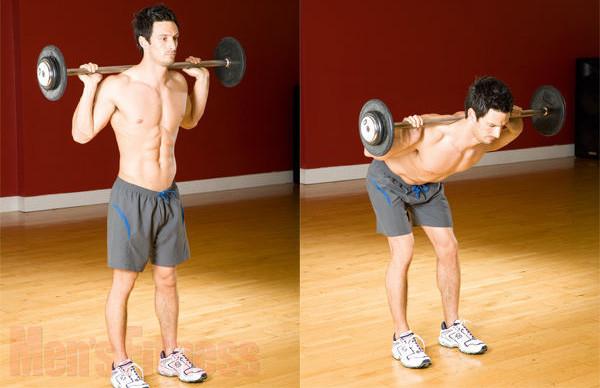 Наклоны со штангой с для ягодичных мышц