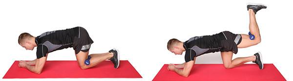 Подъем ноги из упора лежа с гантелью
