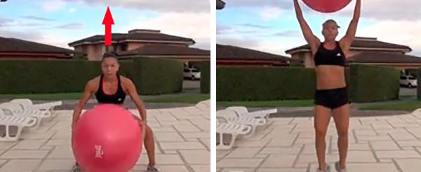 Подъемы фитнес мяча