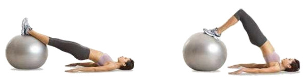 Ягодичный мостик на фитболе во время сушки