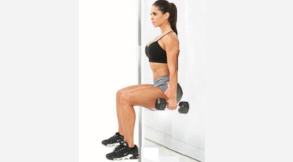 Упражнение стульчик с гантелями