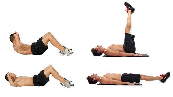 Скручивания и подъем ног: фото.