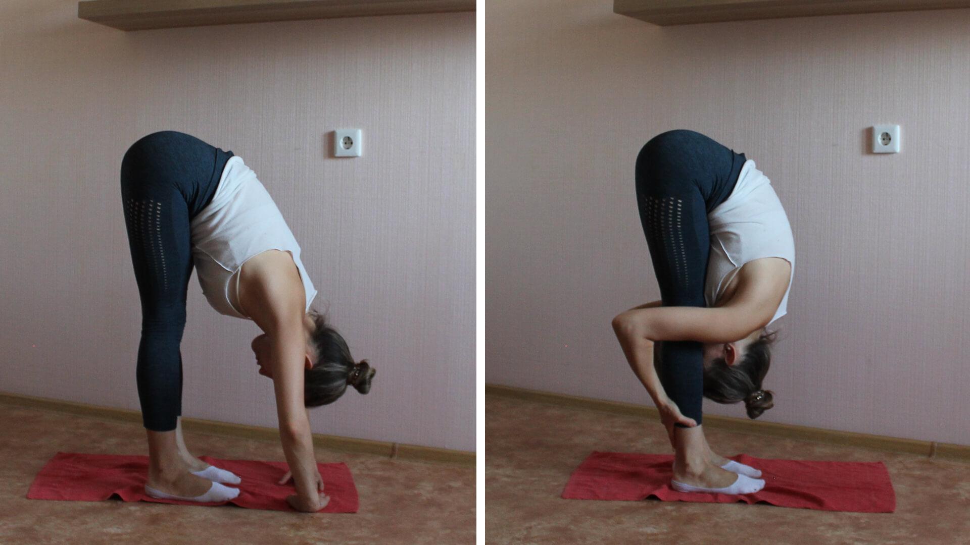 Натяжение задних мышц ног из положения стоя: фото упражнения.