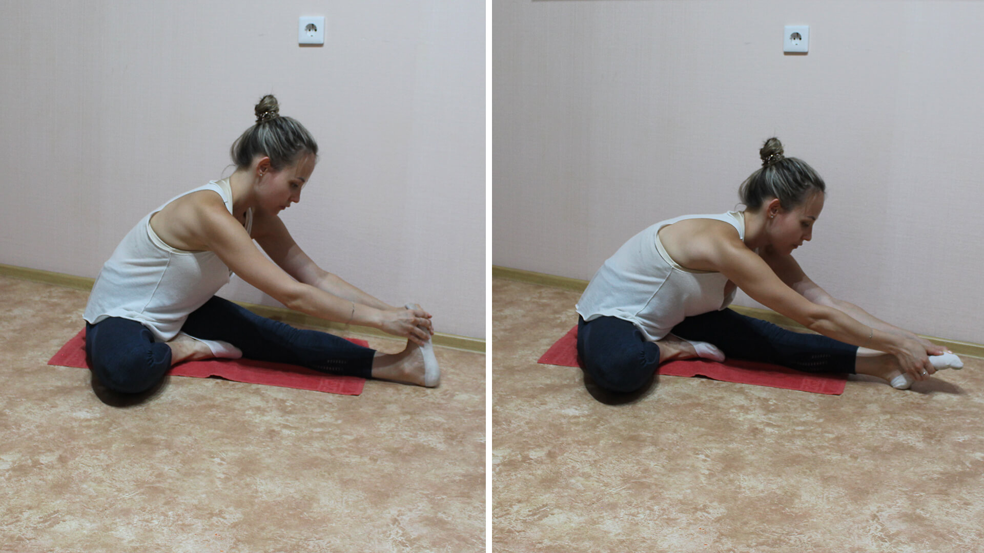 Наклон сидя на ягодицах по одной ноге: фото упражнения