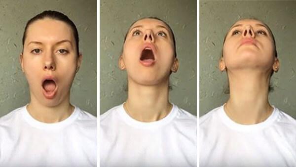Упражнения на платизму с открытым ртом.