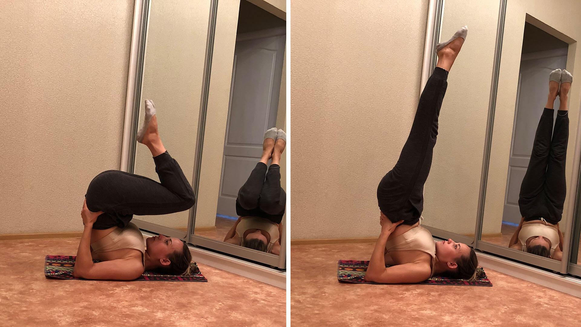 Катание на спине + выход в «березку»: фото упражнения.