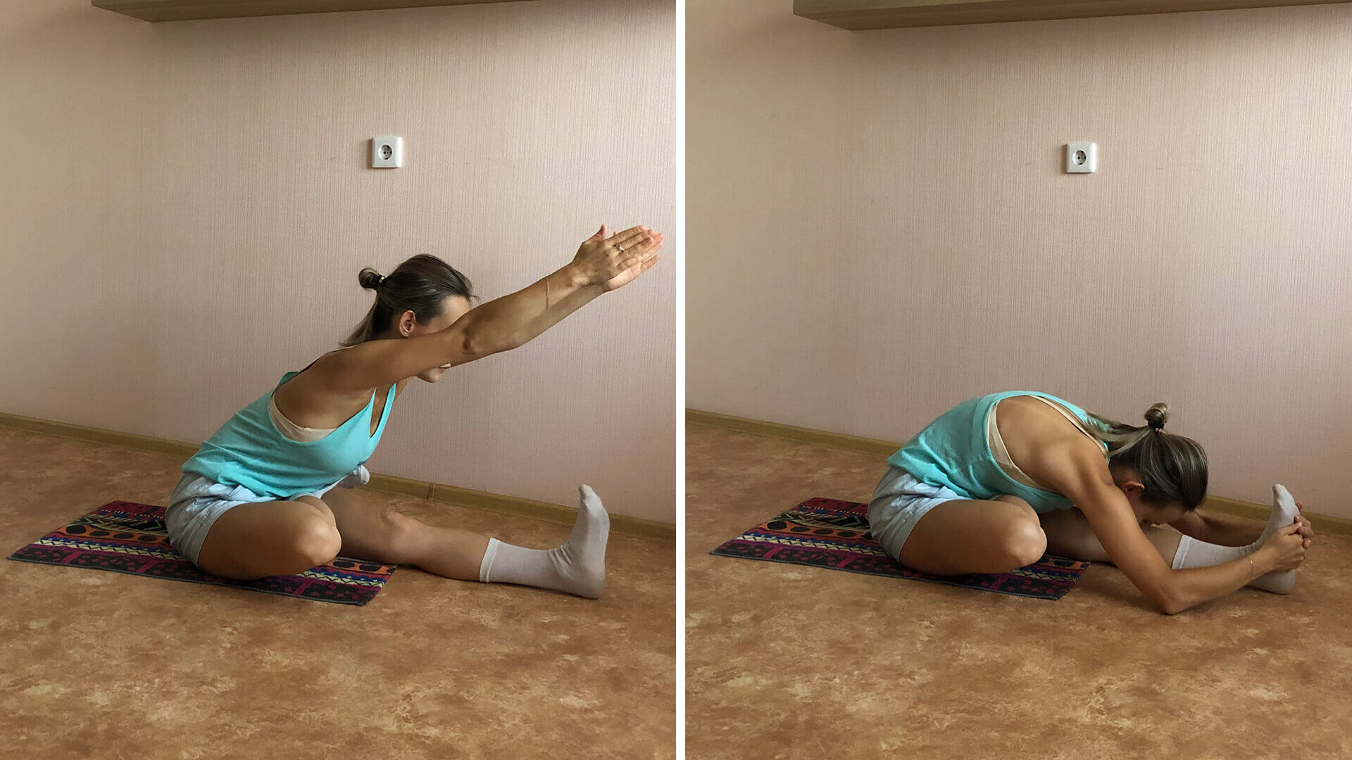 Простая подготовка ног к полушпагату: фото упражнения.