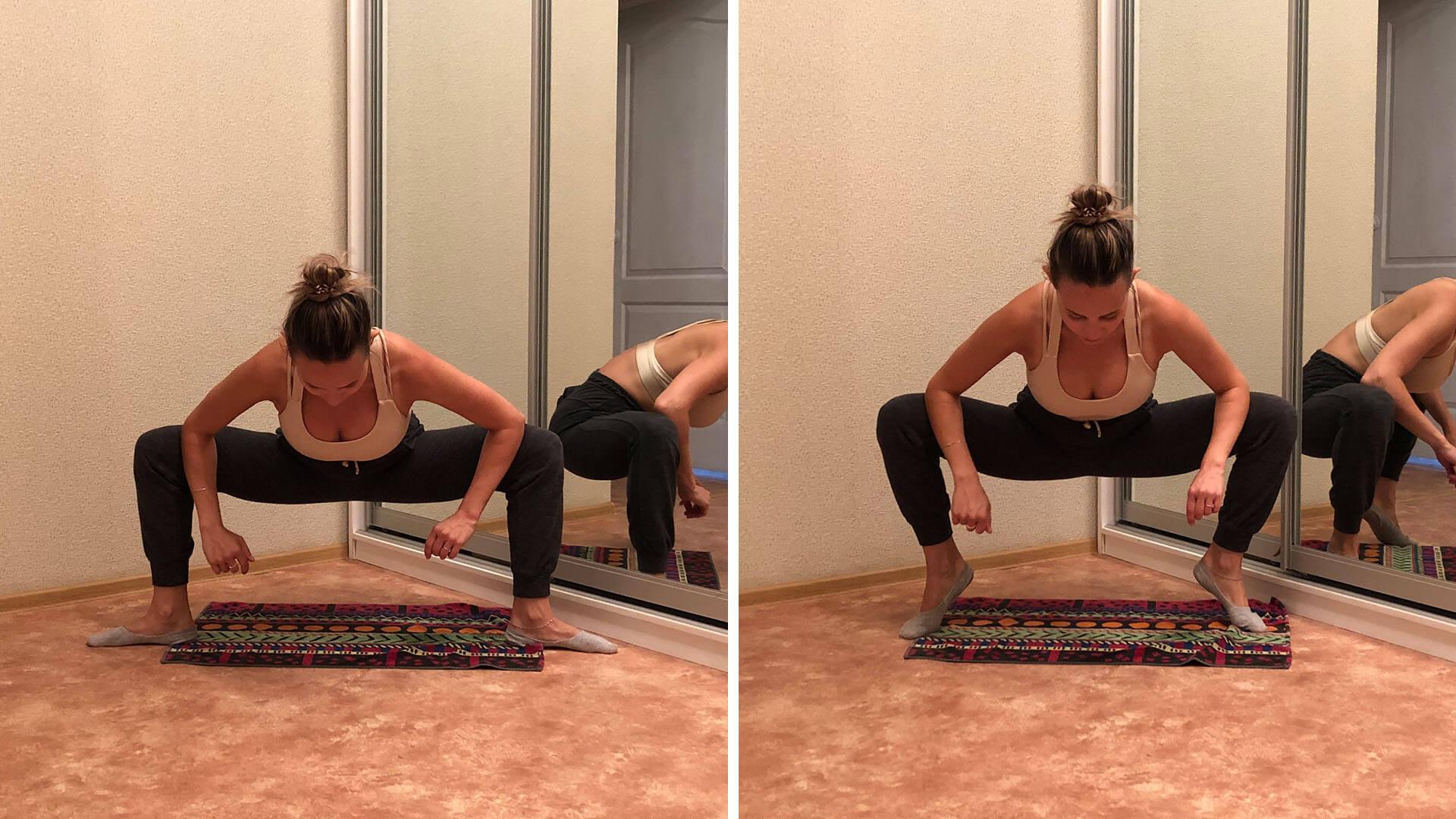 Растяжка стоп и внутренней поверхности бедер: фото упражнения.
