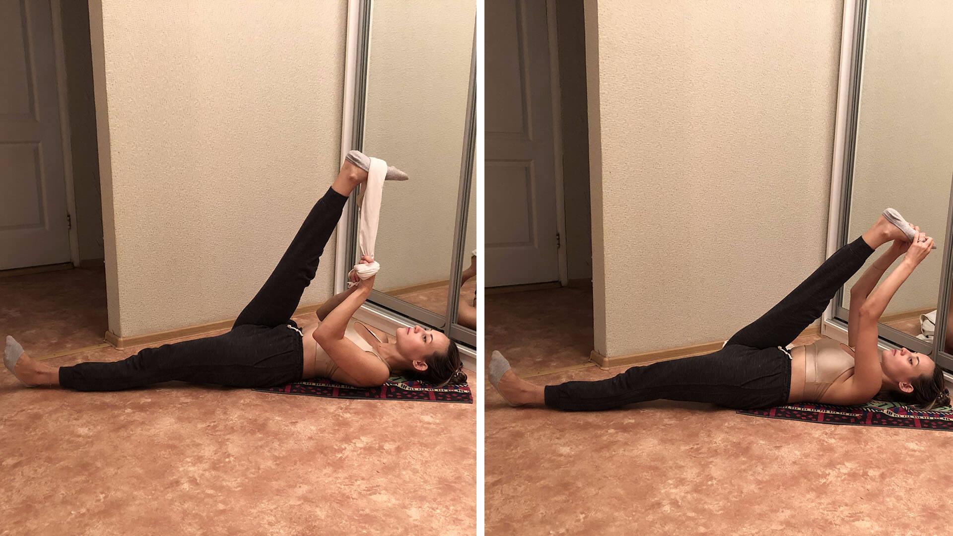 Вытяжение всей задней поверхности ноги: фото упражнения.