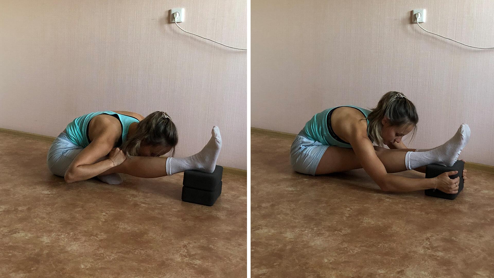 Вытяжение задней поверхности ног с кубиком.