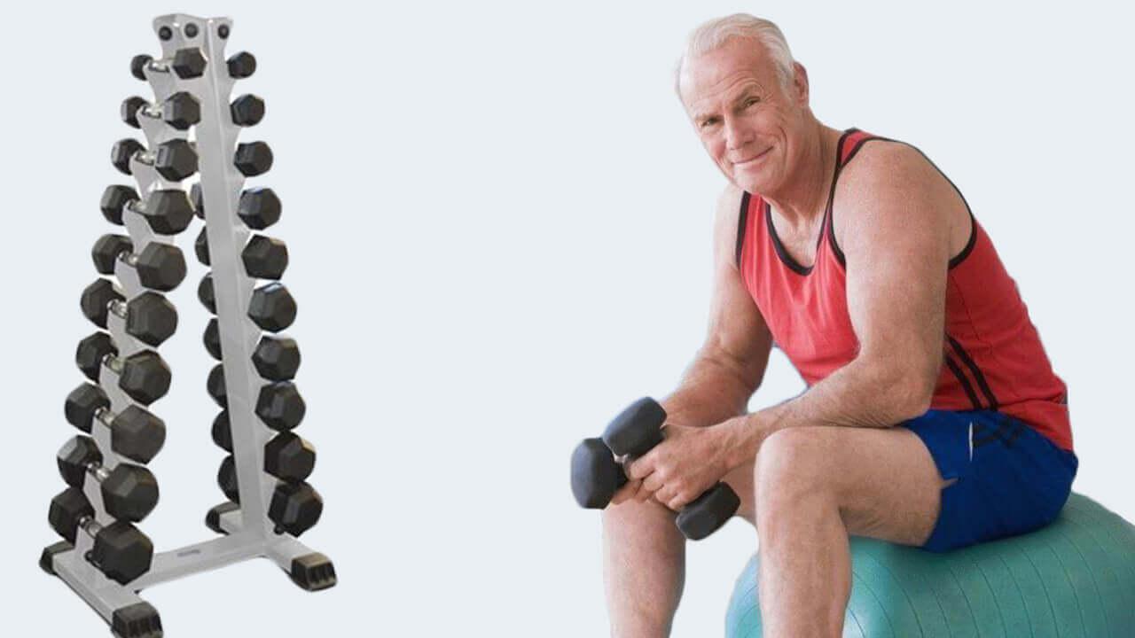 Упражнения с гантелями после 50 лет: фото.