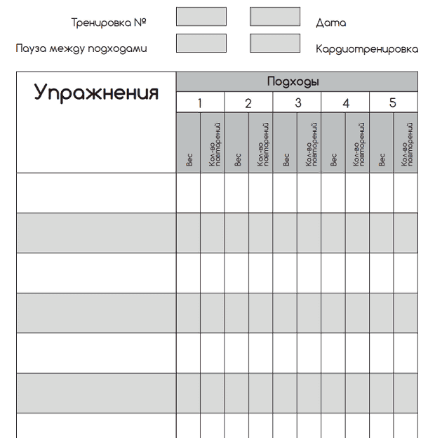 Пример дневника тренировок 1.