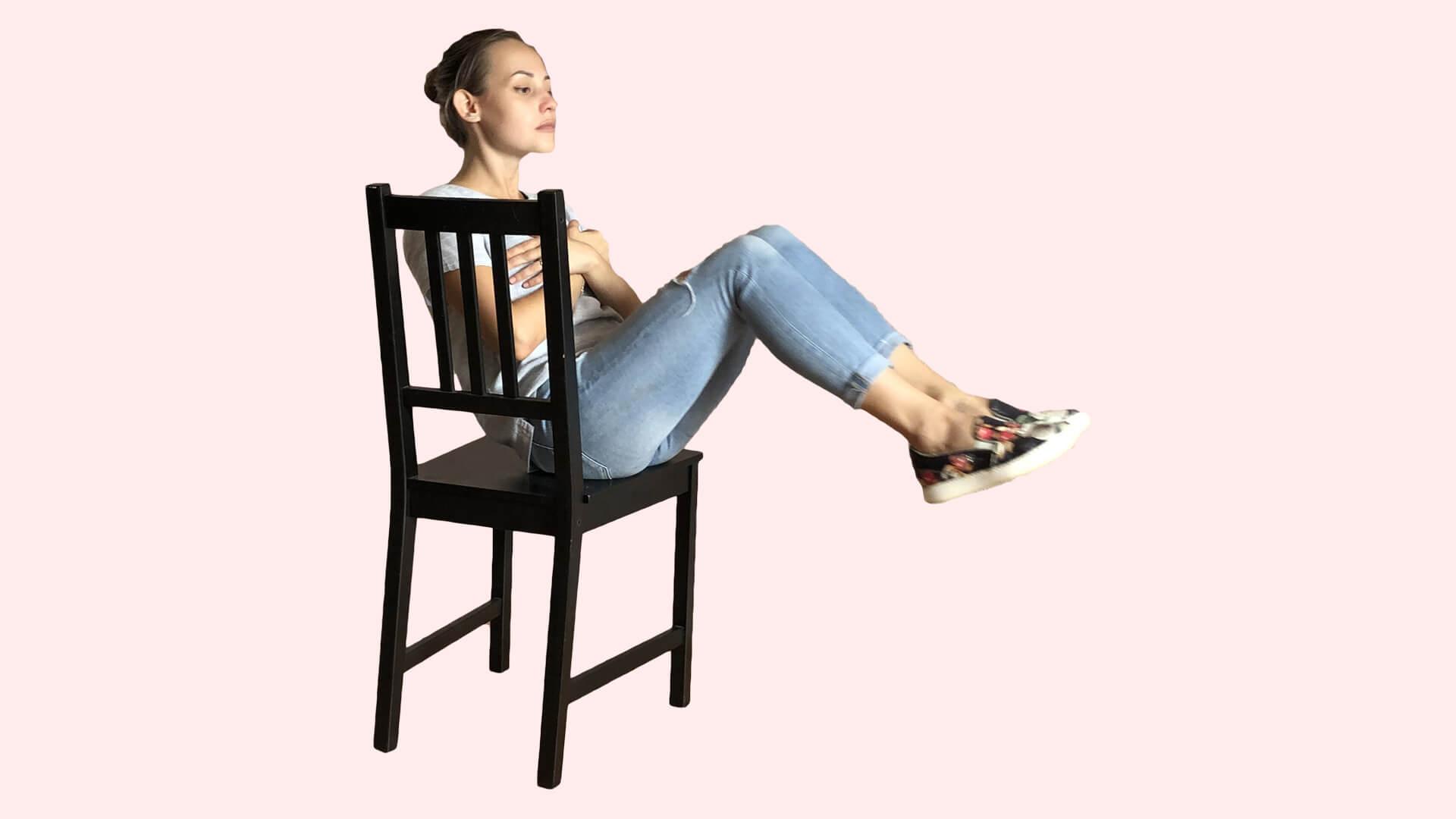 Пресс на стуле: фото.