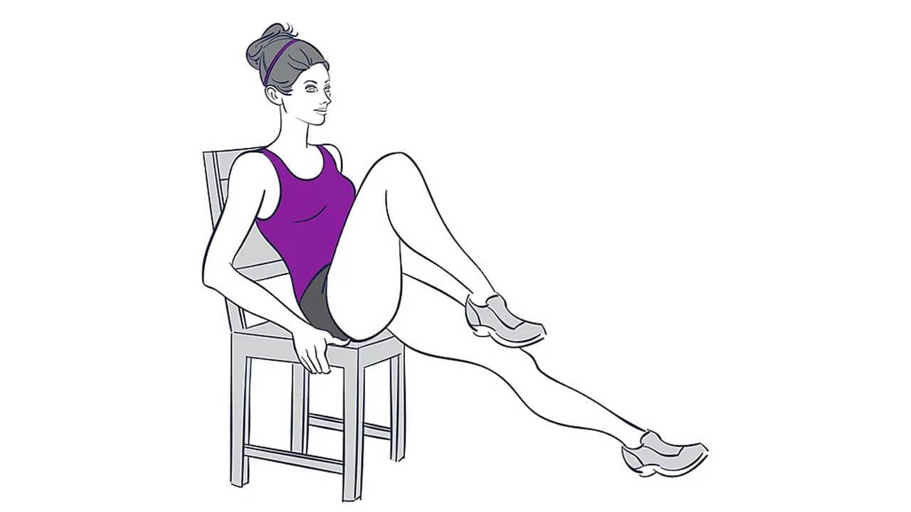 Поочередное разгибание колен: фото упражнения.
