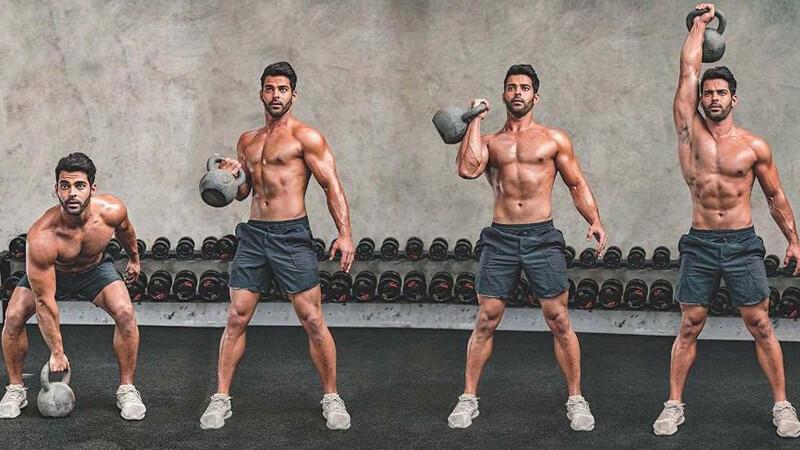 рывок гири: фото выполнения упражнения.